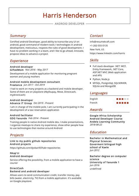 android developer resume sample resumekraft