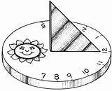 Sundial Template Shadow Coloring Activities Sketch Dia Hora Domingo sketch template