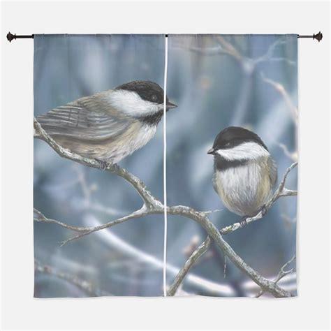 black capped chickadee window curtains drapes black