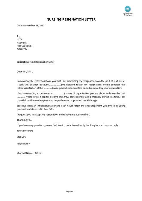 Resignation Letter For Staff Nurse - Sample Resignation Letter