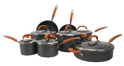 rachael ray cookware anodized orange hard nonstick pans pots piece warranty seller fast brand shipping