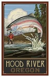 Hood River Tree Lighting Paul A Lanquist Hood River Oregon Rainbow Trout Art Print