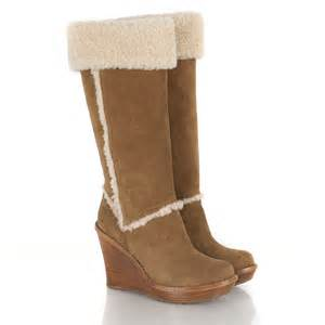 womens ugg boots with heel ugg chestnut s aubrie wedge calf boot