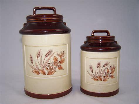 pottery kitchen canister sets vintage ceramic kitchen canister set 2 1960 39 s handled