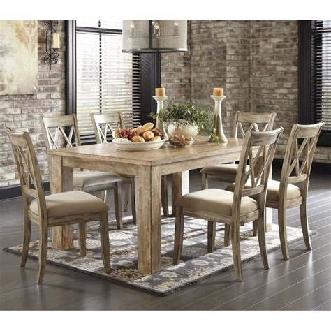 Ashley Mestler 7 Piece Dining Set In Bisque And Antique