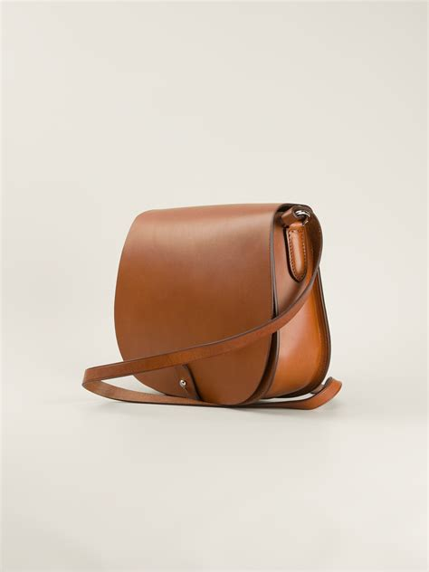 lyst ralph lauren black label classic saddle bag  brown