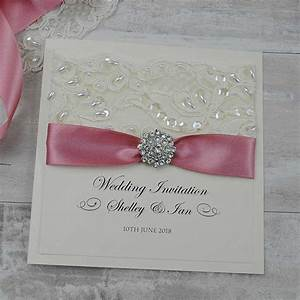 personalised folded wedding invitations uk ribbon With wedding invitation printing services uk