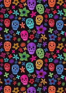 Black background Sugar Skulls | Phone wallpaper | Pinterest