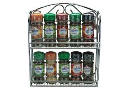 10 Jar Filled Chrome Spice Rack