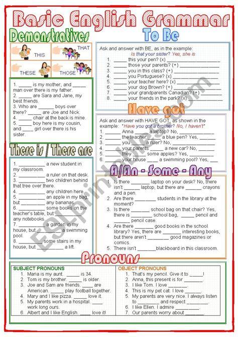 basic english grammar esl worksheet  nuria