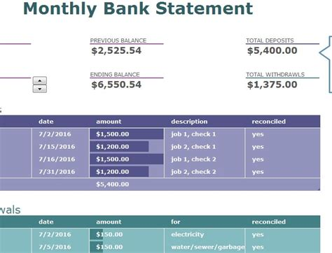 monthly bank statement  excel templates