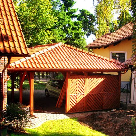 Walmdach Carport  Carport Aus Hols  Holzprodukte Aus Polen