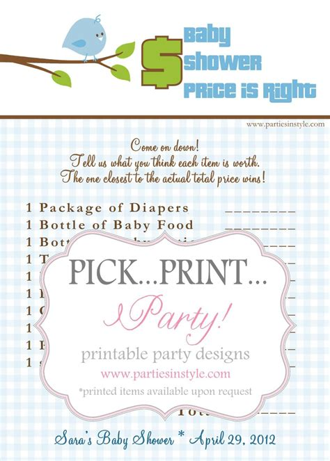 baby shower price is right baby shower price is right printable diy the
