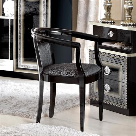 italian medusa black high gloss dressing table chair