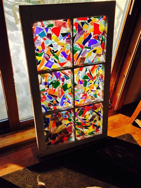 stained glass window ideas my newest window made with scrap stained glass and pour over epoxy mosaics pinterest