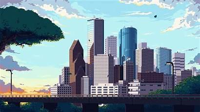 Skyline Animated Houston Pixelart Town Oc Redd