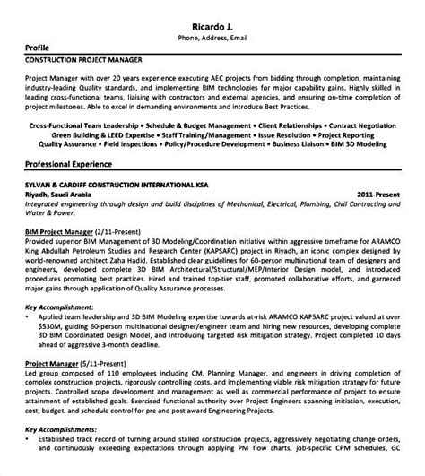 construction resume formats exles