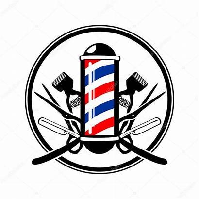 Pole Barbers Emblem Razor Clippers Vector Scissor