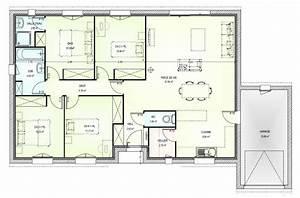plan maison plain pied 3 chambres 100m2 good plan maison With maison en 3d gratuit 7 exemple modele maison axial