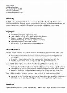 professional document control clerk templates to showcase With documents control resume