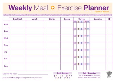 weekly meal exercise planner templates