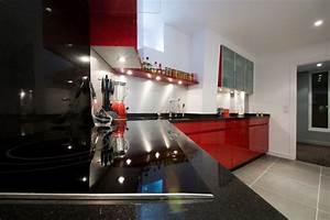 cuisine leicht laquee rouge With cuisine rouge plan de travail noir