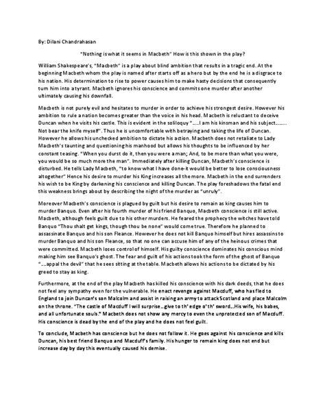Macbeth Tragic Essay Thesis by Pdf Essay On Macbeth Text Response Dilani