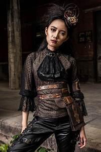 haut steampunk femme noir et marron a manches longues rq With vêtements steampunk femme