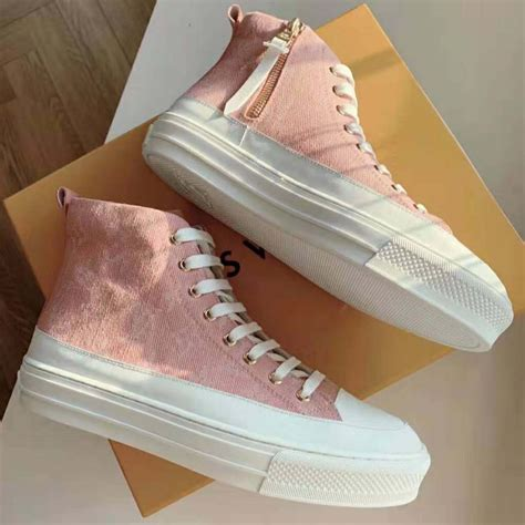 louis vuitton lv women stellar sneaker boot  pink monogram denim lulux