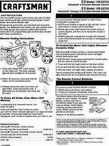 Craftsman Garage Door Opener Manual L0806814