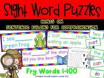sight word puzzles hands  sentence building