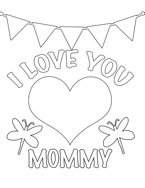 I Love You Mommy Free Coloring Page Kids Love