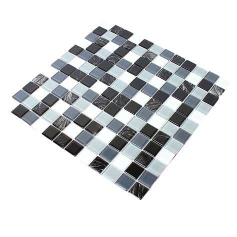 Self Adhesive Glass Mosaic Tiles Black Grey Tm33423