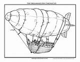 Coloring Airship Fantasy sketch template