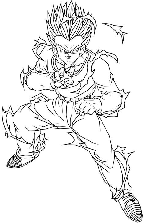 dragon ball  gotenks coloring page coloring home