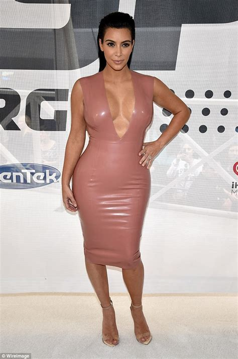 Kim Kardashian Squeezes Into Latex Dress With A Very Plunging Neckline Daily Mail Online