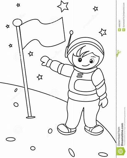 Astronauta Dell Coloritura Pagina Illustrazione