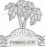 Island Palm Trees Sea Patterns Coloring Adult sketch template