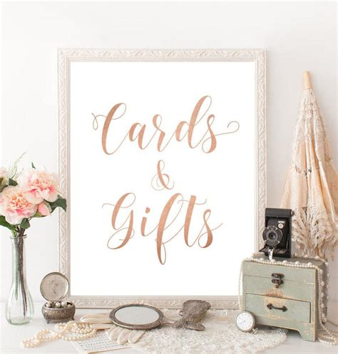 Rose Gold Wedding Decor Cards And Gifts Sign Printable