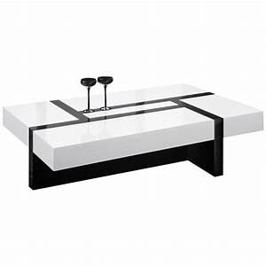 Table De Salon Rectangulaire Noir Et Blanc