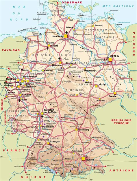 Carte Routière De L Europe 2017 by Carte De L Allemagne Carte Des Villes Du Relief Des