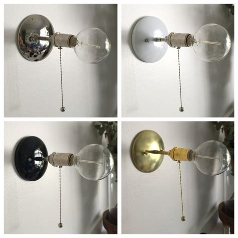pulley black brass pull chain industrial modern wall sconce