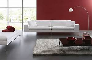 Red leather modern sofamodern black leather sofa gu405 for Red denim sectional sofa