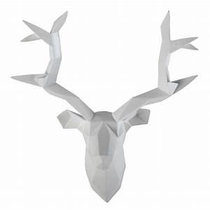 Tete De Cerf Deco : d co murale t te de cerf blanche 45 x 47 cm origami et d co ~ Teatrodelosmanantiales.com Idées de Décoration