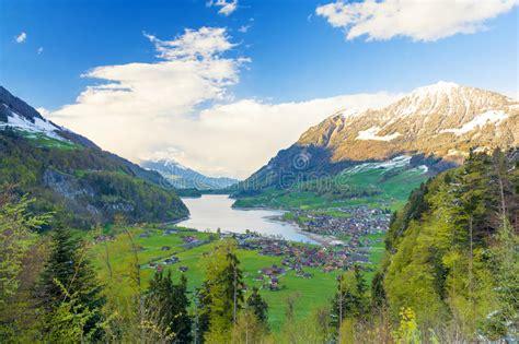 Lake Lungern Valley From Brunig Pass Switzerland Stock