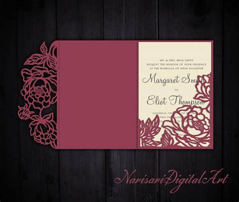tri fold peonies  wedding invitation pocket envelope svg