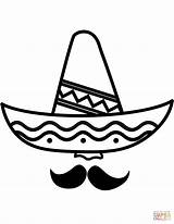 Sombrero Coloring Mustache Printable Pages Hat Template Categories sketch template