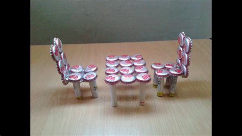 miniature table chairs  waste bottle caps