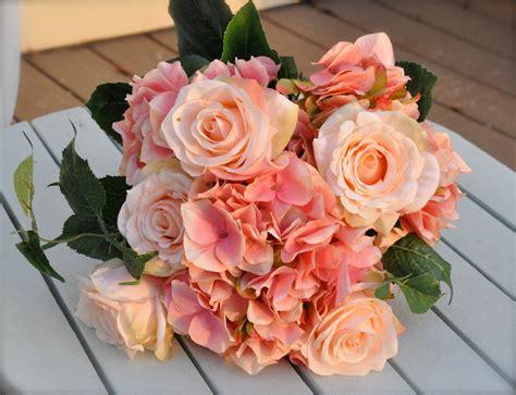Coral Salmon Rose Wedding Bouquet