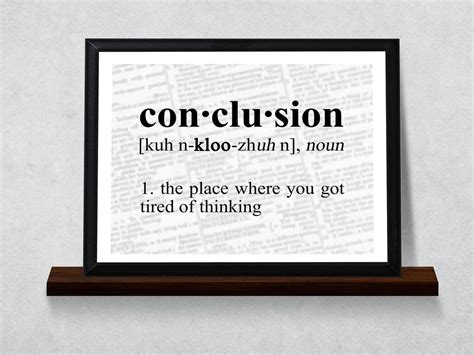 conclusion definition typography wall plaque